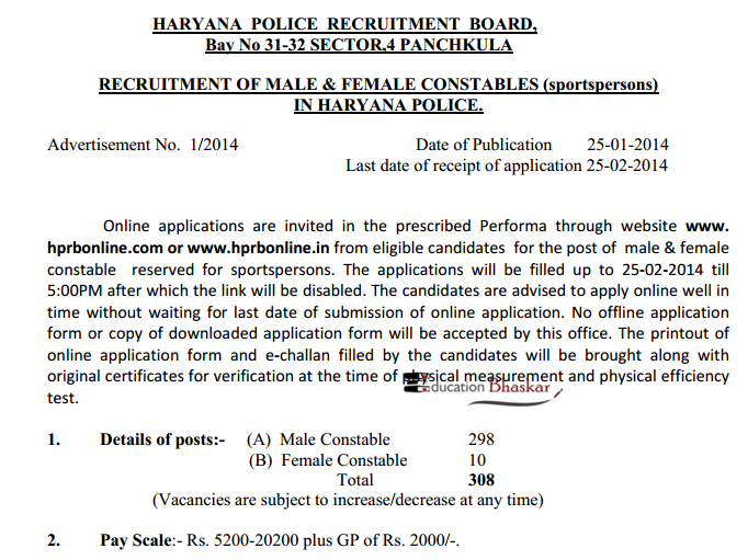 Haryana Police Recruitment 2014 advertisement education bhaskar