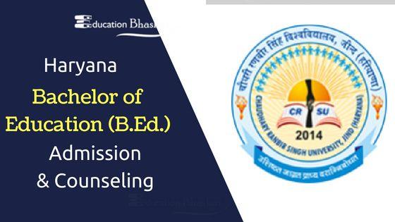 Haryana B.Ed. admission CRSU B.Ed. regular online applications