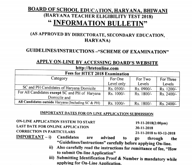 HTET 2019-20 Haryana TET News Notification www htet nic in